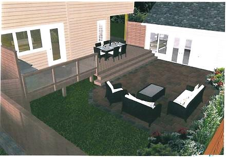 Computer rendering of outdoor deck and patio living space