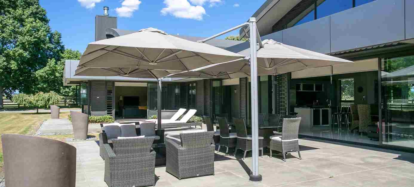 Outdoor Umbrella shading a seating area